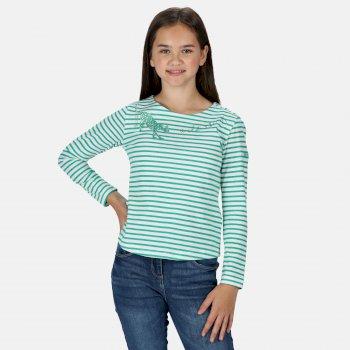 Kids' Carmella II Long Sleeved Striped Graphic T-Shirt Deep Mint Stripe