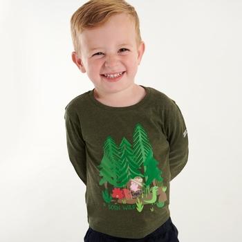 Dziecięca koszulka Peppa Graphic ciemne khaki