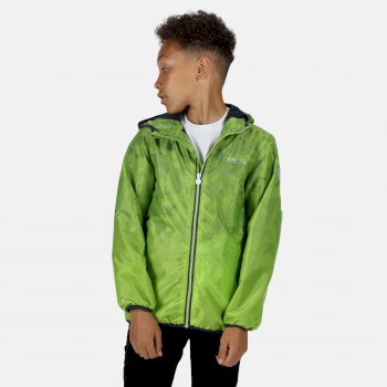 Kids' Printed Lever Packaway Waterproof Jacket Electric Lime