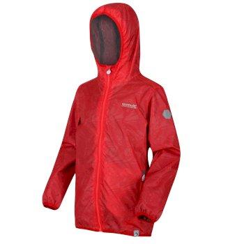 Kids' Printed Lever Packaway Waterproof Jacket Coral Blush Tropical