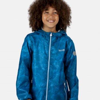 Kids' Printed Lever Packaway Waterproof Jacket Blue Aster