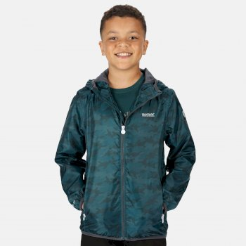 Kids' Printed Lever Packaway Waterproof Jacket Deep Teal Camo