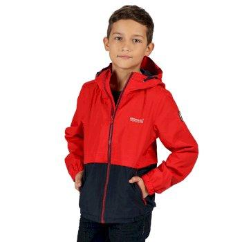 Kids' Haskel Waterproof Hooded Jacket True Red Navy