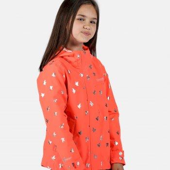 Kids' Bibiana Waterproof Jacket Fiery Coral Foil Bird Print