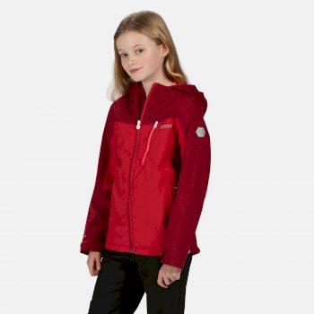 Kids' Highton Waterproof Hooded Hiking Jacket Dark Cerise Beetroot