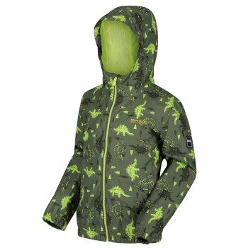 Kids' Ellison Printed Lightweight Waterproof Hooded Jacket Cypress Green