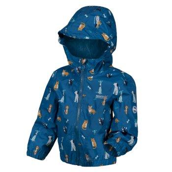 Kids' Ellison Printed Lightweight Waterproof Hooded Jacket Petrol Blue
