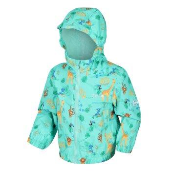 Kids' Ellison Printed Lightweight Waterproof Hooded Jacket Tropical Mint Jungle