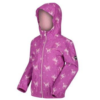 Kids' Ellison Printed Lightweight Waterproof Hooded Jacket Radiant Orchid Pink