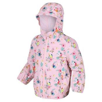 Kids' Ellison Printed Lightweight Waterproof Hooded Jacket Pastel Pink Toucan