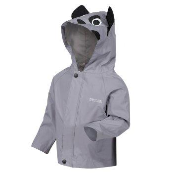 Kids' Animal Print Waterproof Jacket Rock Grey Dog