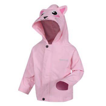 Kids' Animal Print Waterproof Jacket Pastel Pink Cat