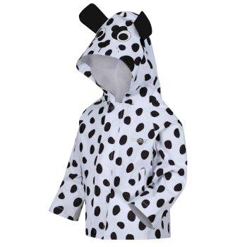 Kids' Animal Print Waterproof Jacket White Black Dog