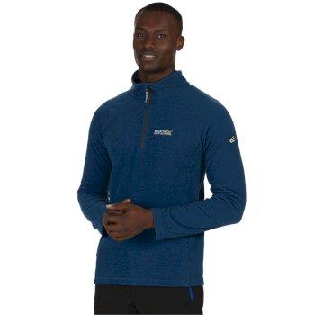 Men's Montes Half Zip Lightweight Mini Stripe Fleece Imperial Blue