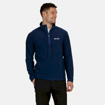 Men's Montes Lightweight Half Zip Mini Stripe Fleece Nautical Blue