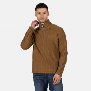 Men's Elgrid Half Zip Mid Weight Fleece Dark Camel Rib