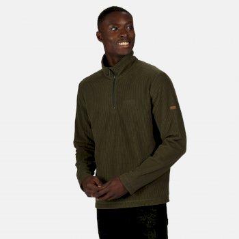 Men's Elgrid Half Zip Mid Weight Fleece Dark Khaki Rib