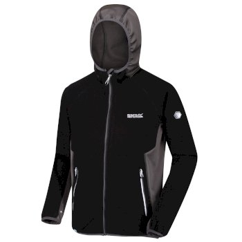 Men's Kinver Full Zip Hooded Stretch Fleece Black Magnet Grey