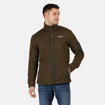 Men's Garret Heavyweight Knitted Full Zip Fleece Camo Green Bayleaf