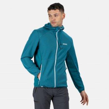 Men's Terota Full Zip Hooded Stretch Midlayer Olympic Teal Gulfstream