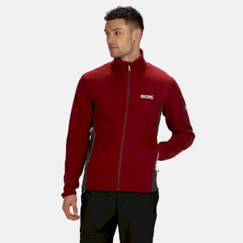 Men's Highton Stretch Lightweight Full Zip Fleece Delhi Red Magnet Grey