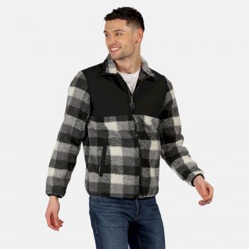 RMA426_UUA: Mens Cadao Full Zip Heavyweight Fleece Black Check