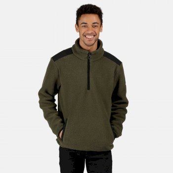 Men's Colman Half Zip Heavyweight Fleece Dark Khaki Black