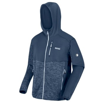 Men's Cadford Full Zip Hooded Marl Walking Fleece Dark Denim