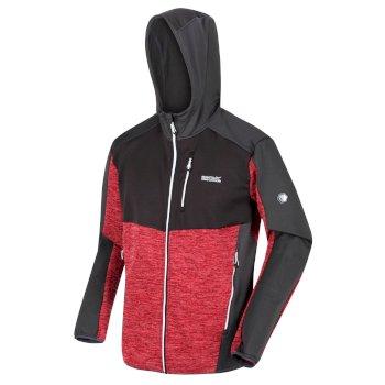 Men's Cadford Full Zip Hooded Marl Walking Fleece Chinese Red Ash