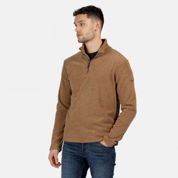 Men's Edley Half Zip Two Tone Fleece Dark Camel