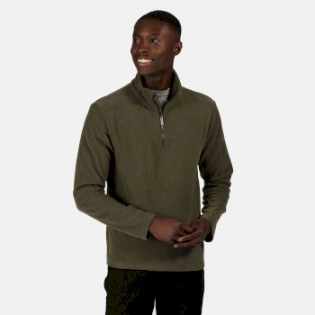 Men's Edley Half Zip Two Tone Fleece Dark Khaki