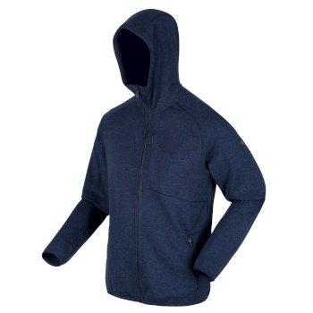 Men's Ryedale Full Zip Hooded Marl Walking Fleece Dark Denim