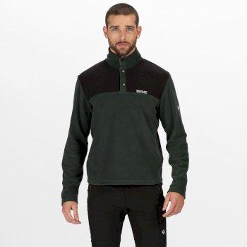 Men's Melrow Button Neck Fleece Deep Forest Black