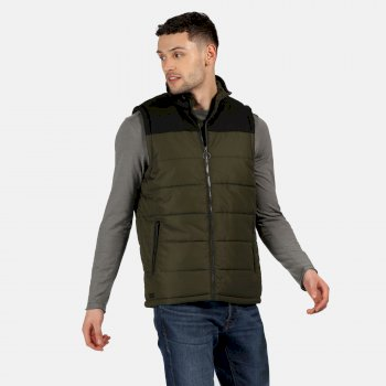 Men's Hamill Insulated Quilted Bodywarmer Dark Khaki Black
