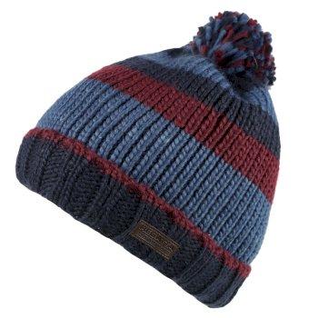 Davion Knitted Pom Pom Hat Navy Multi