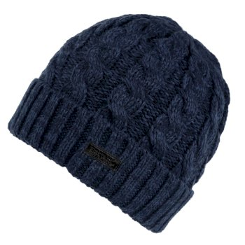 Men's Harrel III Fleece Lined Cable Knit Hat Dark Denim