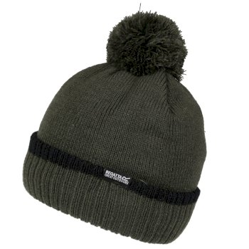 Men's Davion III Fleece Lined Bobble Hat Khaki Black