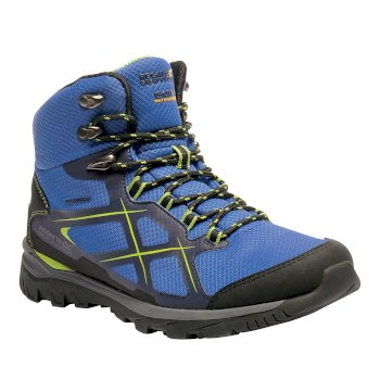 Men's Kota Mid Walking Boots Oxford Blue Lime Green