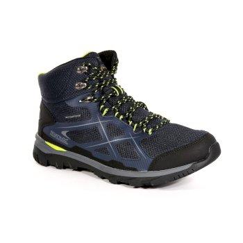Men's Kota Mid Walking Boots Navy Blazer Lime Green