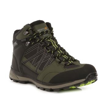 Men's Samaris II Waterproof Mid Walking Boots Dark Khaki Lime Punch