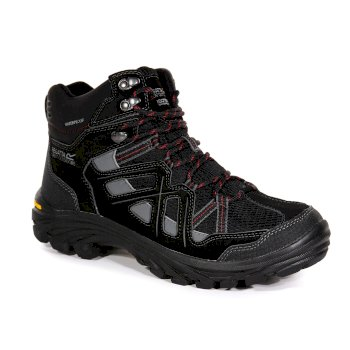 Men's Burrell II Waterproof Vibram Walking Boots Black Granite