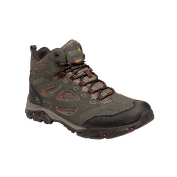 Men's Holcombe IEP Mid Waterproof Walking Boots Dark Khaki Brandy Brown
