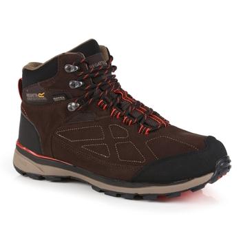 Men's Samaris Suede Waterproof Mid Walking Boots Peat Burnt Salmon
