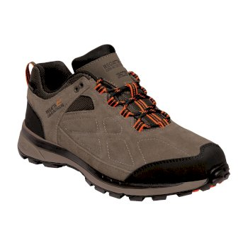 Men's Samaris Suede Low Walking Shoes Walnut Blaze Orange