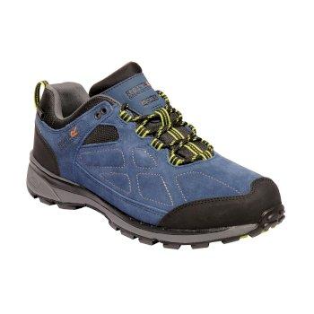 Men's Samaris Suede Low Walking Shoes Dark Denim Lime Green