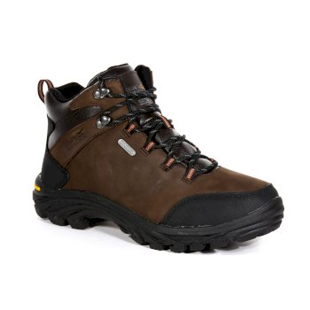 Men's Burrell Leather Waterproof Vibram Walking Boots Peat