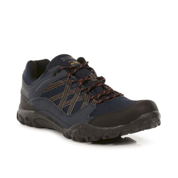 Men's Edgepoint III Waterproof Walking Shoes Navy Burnt Umber
