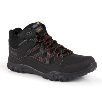 Men's Edgepoint Mid Waterproof Walking Boots Black Classic Red