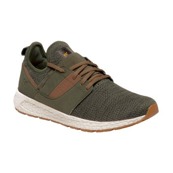 Men's R-81 Knitted Trainers Dark Khaki Saddle