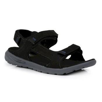 Men's Marine Leather Walking Sandals Black Granite Grey